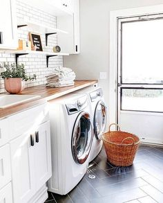 37 Stylish Laundry Room Design Ideas To Inspire « knoc knock Laundry Room Tile, Modern Laundry Rooms, Basement Laundry, Laundry Room Organization, Laundry Room Design, Modern Room, Room Tiles Design, 2 Instagram, Formal Living Rooms