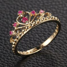 Red Crown Rubies Princess Shaped Engagement Ring