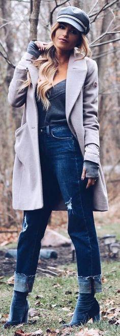 #winter #outfits grey tank top, boyfriend jeans, dark boots, grey long jacket, hat