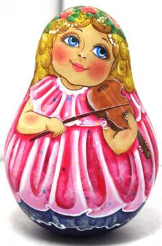 FREE SHIPPING Russian Rolly Poly Bell Girl with Violin traditional wood art hand painted Russian toy souvenir linden birch wood toy