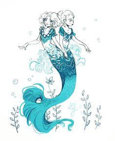 Mermay 2018 Fantasy Mermaids, Mermaids And Mermen, Mermaid Drawings, Mermaid Art, Magical Creatures, Fantasy Creatures, Character Illustration, Illustration Art, Arte Disney