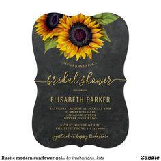 Rustic modern sunflower gold script bridal shower invitation