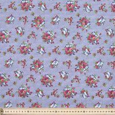 Country Garden Flower Denim Fabric Multicoloured 112 cm