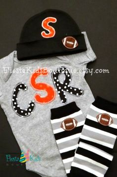 Baby boy monogram outfit, football applique on hat, matching leg warmers available by FiestaKidsBoutique