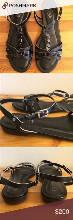 Tod's braided leather sandals Beautiful mix of black patent & matte leather straps.  Excellent condition with small scuffs at toe as pictured.  Newly re-soled.  Metal is not tarnished.  Tod's signature cushioned footbed is super comfy. Tod's Shoes Sandals