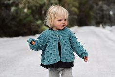 Hand-Knitted Bobble Cardigan for Girls and Toddlers by mioukids