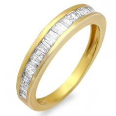 0.50 Carat (ctw) 18k Yellow Gold Plated Sterling Silver Baguette Diamond Ladies Anniversary Ring Stackable Wedding Band DazzlingRock Collection. $149.00. Weighs approximately 2.23 grams. Crafted in 925 Sterling-Silver. Diamond Color / Clarity : I-J / I2-I3. Items is smaller than what appears in photo. Photo enlarged to show detail. Diamond Weight : 0.5 ct tw.
