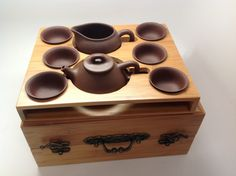 Travel Tea Set with box for storage and tea tray