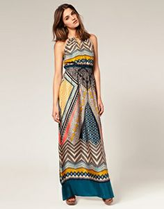 Warehouse silk tribal dress.
