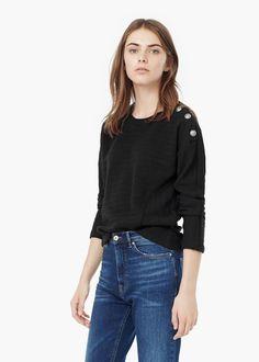 Getextureerd katoenen sweatshirt -  Dames | MANGO