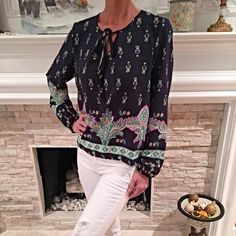 Stunning contrast navy and mint blouse! Stunning boho tie front peasant sleeve blouse with pretty mint - lilac and yellow print! Tops Blouses