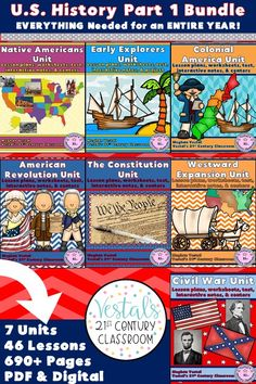 American History Lessons include lesson plans, activities, worksheets, and passages for teaching American History for an entire year! Units included: Native Americans, Early Explorers, Colonial America, American Revolution, Constitution, Westward Expansion, and Civil War. #vestals21stcenturyclassroom #americanhistory #americanhistorylessons #americanhistoryhomeschool #americanhistory5thgrade #americanhistorymiddleschool #teachingamericanhistory #americanhistoryactivities #teachingushistory