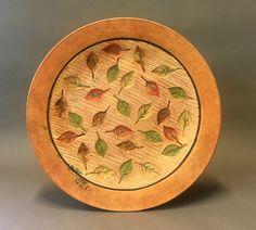 Leaf Platter by Christine Adcock and Michael Adcock. Bring fall indoors with a handcrafted platter which can sit on the tabletop or hang on the wall.