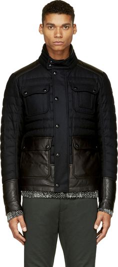 Moncler: Black Quilted Wool Burton Jacket