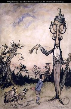 A Giant with a Child and Two Crows,The Book of Betty Barber - Arthur Rackham