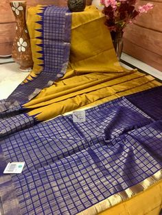 Mustard Yellow and Purple Color Combination Pure Dupion Silk Saree