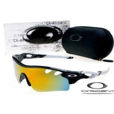 $13 - Cheap oakley free shipping radarlock path sunglasses black / white / fire iridium for sale