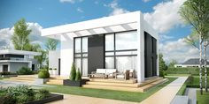 DOM.PL™ - Projekt domu CPT HomeKONCEPT-34 CE - DOM CP1-40 - gotowy koszt budowy Modern Exterior House Designs, Modern House Facades, Facade House, Residential Architecture, Home Fashion, Custom Homes, House Plans, Pergola, Construction