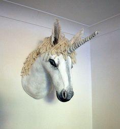 Fabric Taxidermy unicorn trophy head van winding op Etsy, £270.00