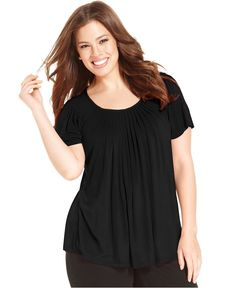Style&co. Plus Size Top, Short-Sleeve Pleated - Plus Size Tops - Plus Sizes - Macy's