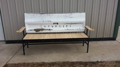 Tailgate #Bench with #Cedar Seat and Arm Rest-Garage #Decor-Man Cave, View more on the LINK: http://www.zeppy.io/product/gb/3/182922602/