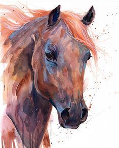 Brown Arabian Horse watercolor painting print by Slaveika Watercolor Horse, Watercolor Animals, Watercolor Paintings, Pastel Paintings, Painted Horses, Horse Illustration, Horse Artwork, Animal Paintings, Horse Paintings