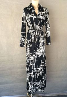 70s Black White Long Sleeve Belted Dress Jacobson's vintage M  #Jacobsons #Maxi