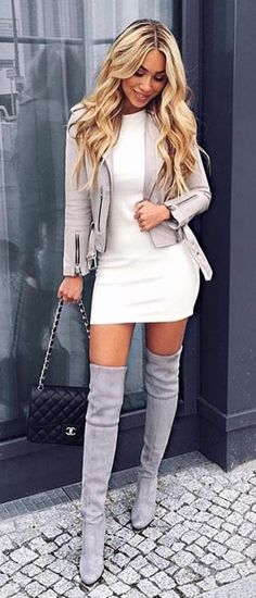 #fall #outfits women's white-and-gray twinset and gray boots outfit