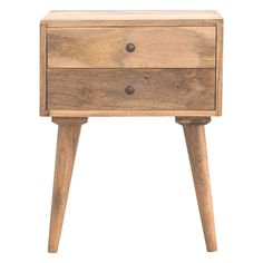 Vincent Two Drawer Solid Wood Bedside Table
