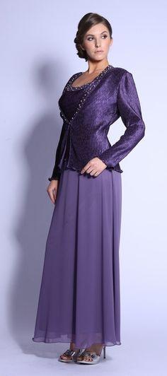 Round Neck Violet Dress Tank Strap Chiffon Skirt Long Sleeve Jacket $182.99
