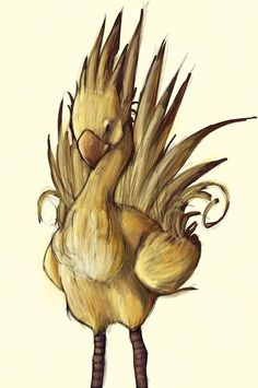 Chocobo by Kenz iole Superbe dessin Chocobo de final fantasy ! Final Fantasy Ix, Final Fantasy Characters, Fantasy Art, Funny Tattoos, Pokemon, Video Game Art, Thing 1, Fantasy Creatures, Comic Art