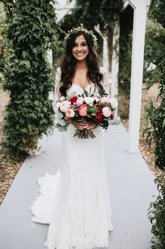 Wedding Hairs Essense of Australia Bride Ashley wearing Style - This French-inspired A-Line wedding gown features soft Lace over Crepe in your choice of ivory and white. Exclusive wedding dresses from Essense of Australia. Wedding Wishes, Wedding Bells, Fall Wedding, Wedding Gowns, Dream Wedding, Wedding Flowers, Bridal Gowns, Rustic Wedding, Bridal Bouquets