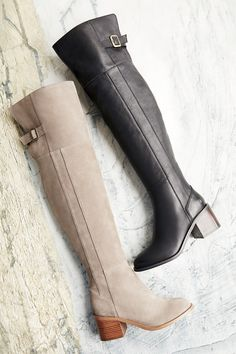 Over-the-knee boot in taupe suede and black leather | Sole Society Devlin