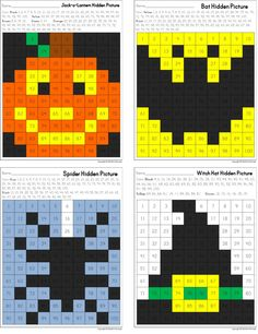 Hidden Pictures in a 100's Chart Fall Holidays ~ Halloween Theme ~ Jack-o-lantern, Bat, Spider, Witch Hat