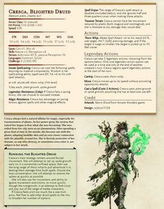 Boss - Cresca, the Blighted Druid Dnd Dragons, Dungeons And Dragons 5e, Dungeons And Dragons Characters, Dungeons And Dragons Homebrew, Dnd Characters, Dnd Druid, Plant Monster, Dnd Stats, Pen & Paper