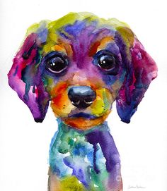 This original colorful painting of daschhund dog puppy was painted with watercolors on paper.  Copyright Svetlana Novikova.  Prints are available on gallery wrapped canvas, metal, acrylic, archival paper, cards, framed and unframed, etc.  This vibrant print would make a great gift for any dog lover.  Thank you for looking!  Prints start at $27