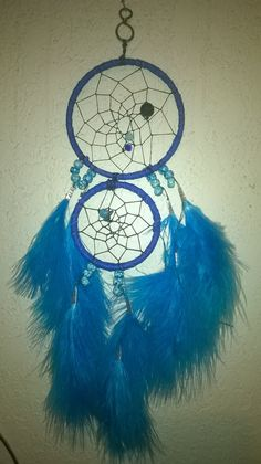 Deep Blue Seaside Dreamcatcher with gemstones,crystal beads,maribou feathers,double ring dream catcher....Ceramic beads....