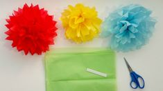 How to Make Tissue Paper Pom Pom Flowers in 4 Easy Steps - YouTube