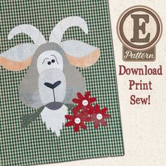 E-pattern- Goat Tea Towel Patternlet by The Wooden Bear.  Also available as a paper pattern.  Also has Pig, Cow, Chicken, Rooster, and Sheep Patternlets.