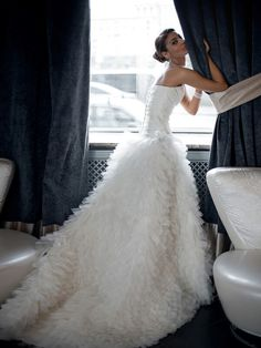 BEAUTIFUL Strapless Bridal Ball Gown Which Showcases A Satin Ruched Bodice With Sweetheart Neckline & Beaded Lace Embroidery, Soft Ruffled Tulle Ball Gown Skirt | Marina Danilova Photography××××
