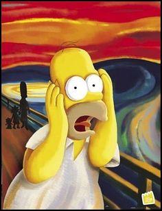 Paródia ao quadro de O grito, de Eduardo Munch. ( Vanguarda: Expressionismo)
