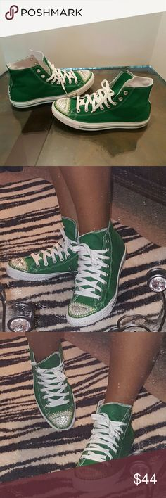 Converse sneakers*final* Cute green converse, wore a couple x's,added some swarovski crystals ,pearls for added style,men's 9 women's 11,in great condition, no trades Converse Shoes Sneakers