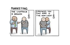 Jobs Explained With a Broken Lightbulb. Created by the Toggl Goon Squad https://www.templatemonster.com/blog/ webhumor