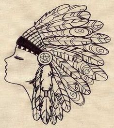 Native American Feather Headdress Embroidered Flour Sack Hand/Dish Towel