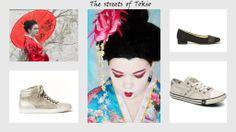 """inspiratie voor het thema """"it's a perfect day"""" is opgedaan in Tokyo; je ziet hier een bijpassende schoen en sneaker van Gabor plus een gymp van Mustang"""