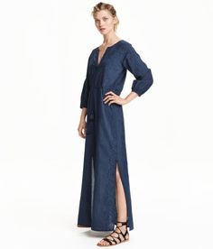 Check this out! Long dress in woven cotton fabric with eyelet embroidery. V-neck at front, long raglan sleeves with narrow elastication at cuffs, and seam and drawstring at waist. Slits at sides. Jersey lining. - Visit hm.com to see more.