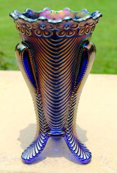 RARE Northwood Daisy & Drape Vase in BLUE - footed