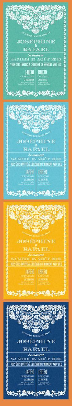 faire part mariage Papel Picado (4 couleurs) - by Tomoë pour www.Fairepart.fr