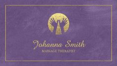 Professional Purple and Gold Hands Logo Massage Therapist Business Cards http://www.zazzle.com/purple_canvas_golden_frame_hands_massage_therapy_double_sided_standard_business_cards_pack_of_100-240715117155784032?rf=238835258815790439&tc=GBCMassage1Pin
