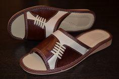 Ladies Womens Brown Leather Slipper  Handmade
